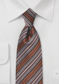 Striped Tie in Bronzes and Blacks