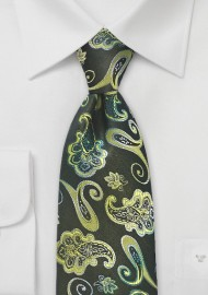 Vivid Paisley Designer Tie in Greens by Chevalier