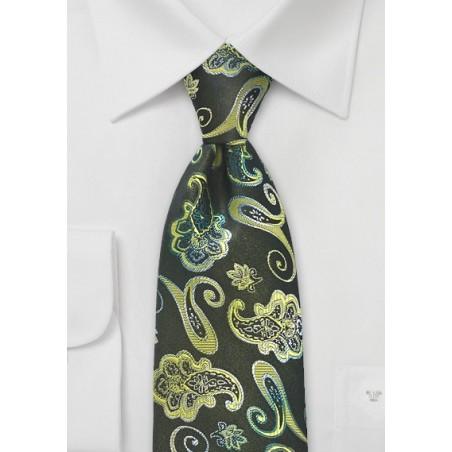 Vivid Paisley Designer Tie in Greens by Chevalier
