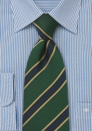 Extra Long Length British Tie in Gold, Navy and Green