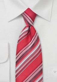 Coral Red Striped Mens Tie in XL