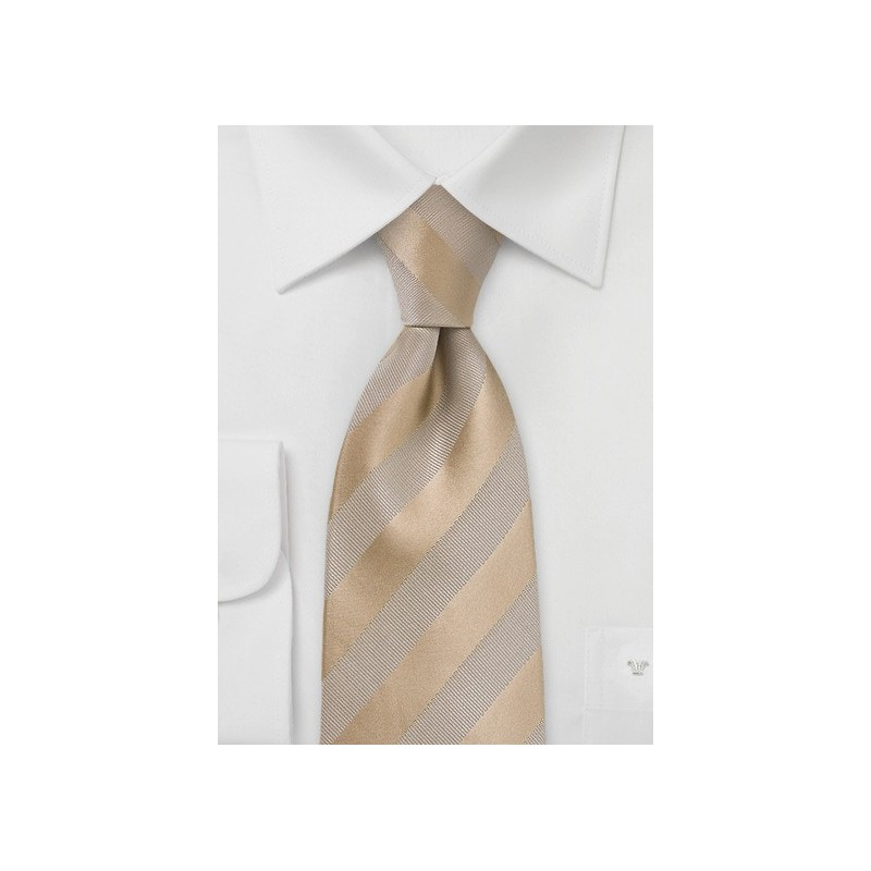 Golden Wheat Striped Extra Long Tie