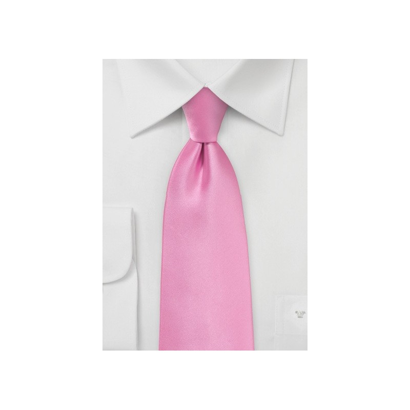 Solid Bright Pink Tie in Extra Long Length