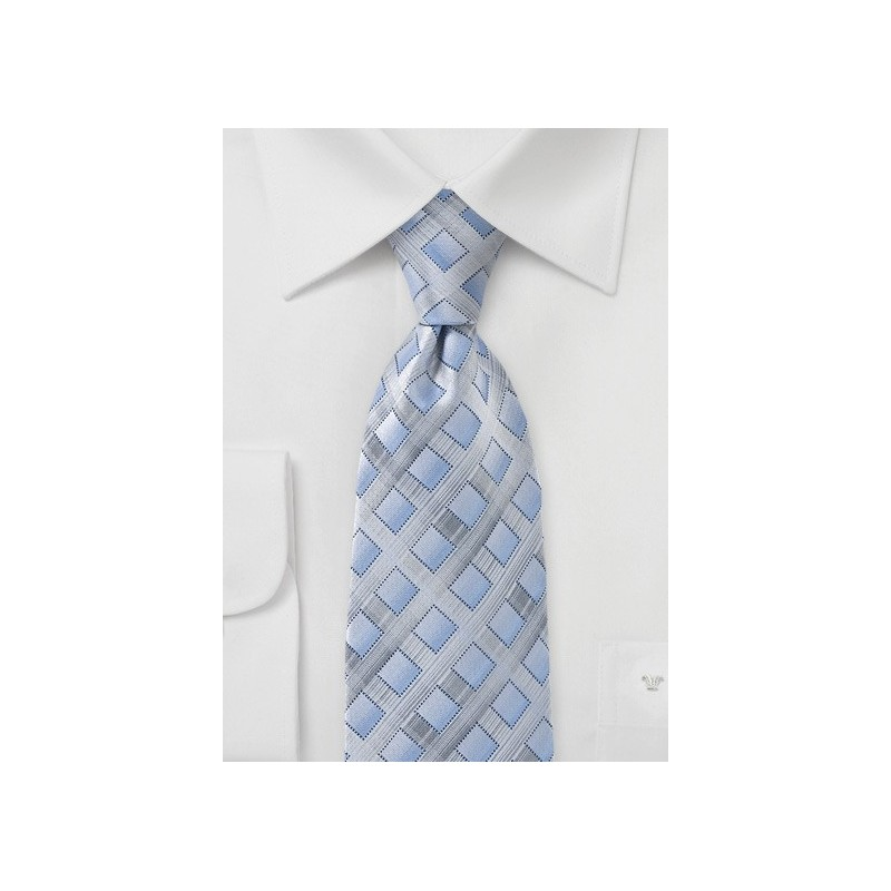 Silver and Blue Diamond Tie