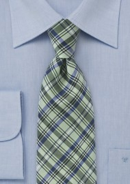 Modern Plaid Tie in Fresh Greens