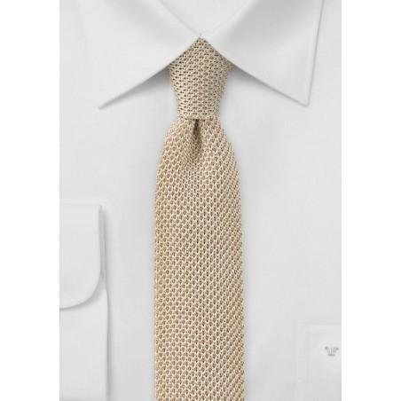 Golden Wheat Silk Knit Tie