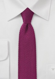 Dark Magenta Pink Knitted Silk Tie