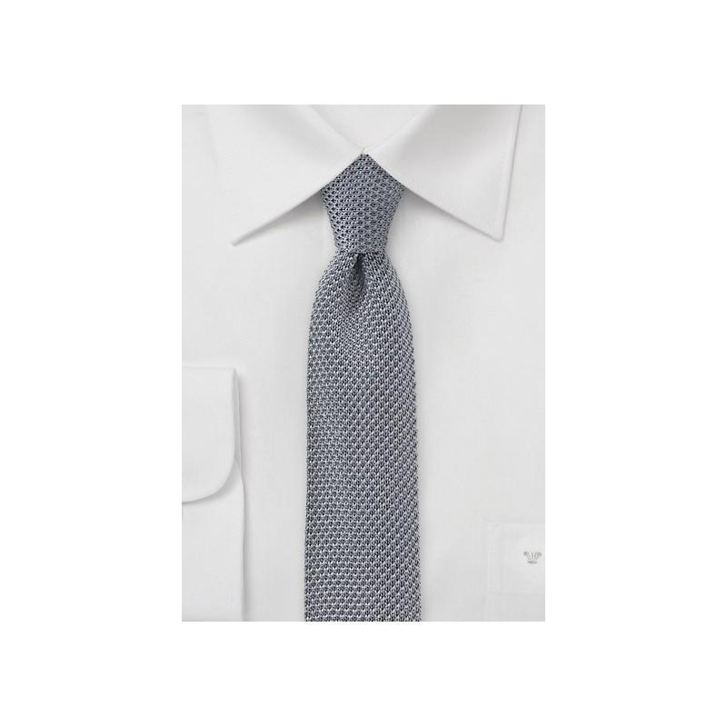 Platinum Silver Skinny Knit Tie