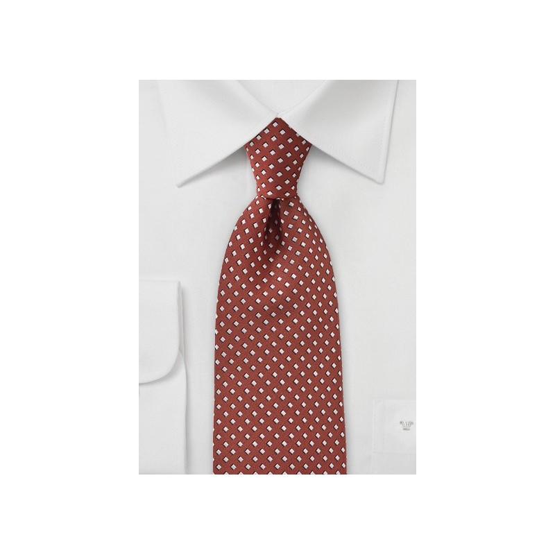 Diamond Patterned Tie in Orange