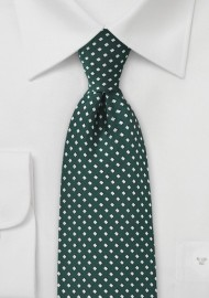 Diamond Pattern Tie in Hunter Green