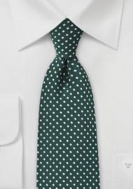 Diamond Pattern Tie in Hunter Green