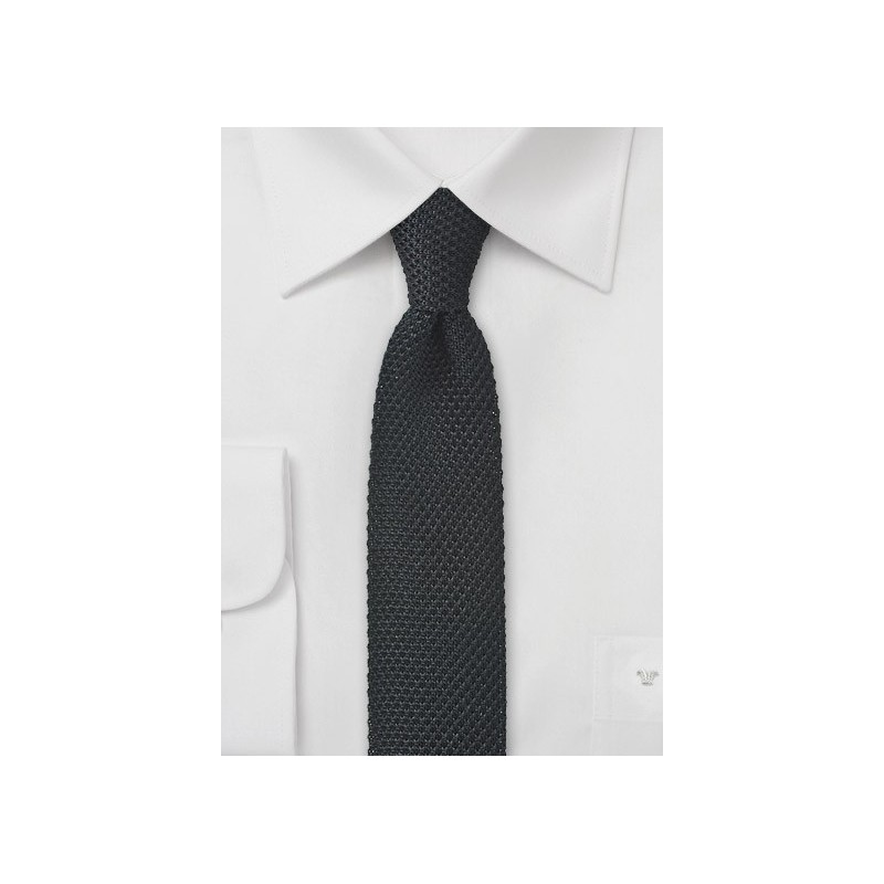 Knit Skinny Tie in Black
