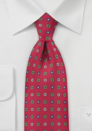 Bright Emblem Tie in Reds