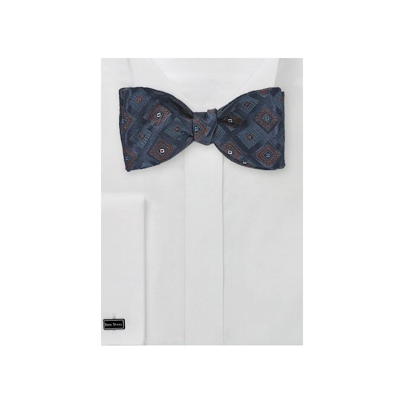 Diamond Patterned Navy Blue Bow Tie