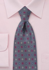 Muted Amethyst Tie with Ruby and Navy Accents