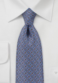 Blue Tie with Decorative Diamonds