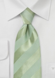 Striped XL Length Tie in Moss Green