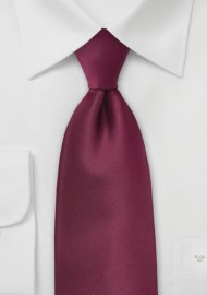 Solid XL Length Tie in Classic Burgundy Red