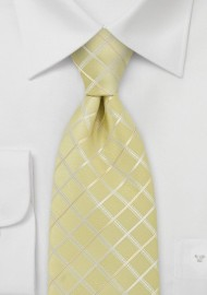 Light Yellow Check Pattern Tie in XL Length