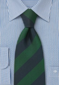 Extra Long Regimental Tie in Green and Navy