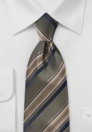 Striped Tie in Deep Moss