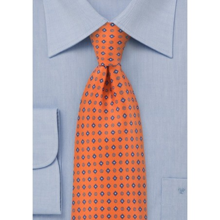 Geometric Tie in Tangerines and Blues