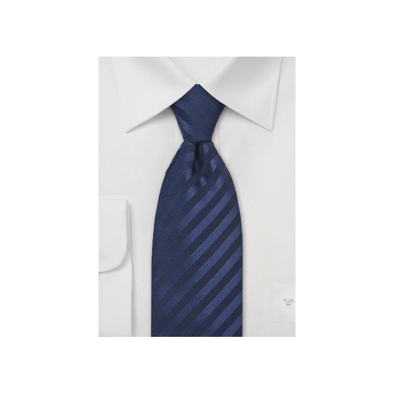 Solid Dark Blue Striped Tie for Kids