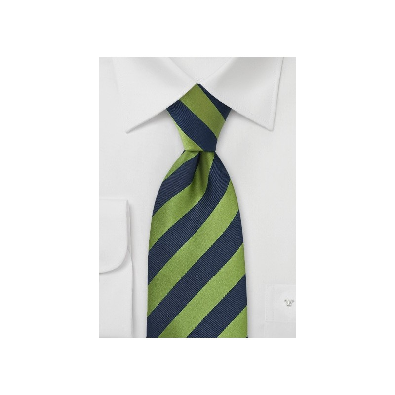 Navy and Fern Green Tie in XL Length