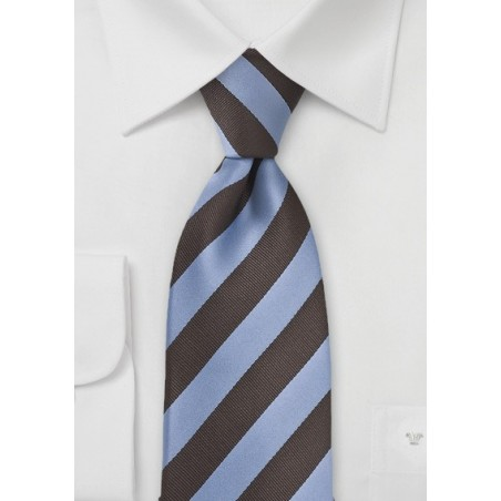 Dragonfly Blue and Brown Striped Tie in XL Length