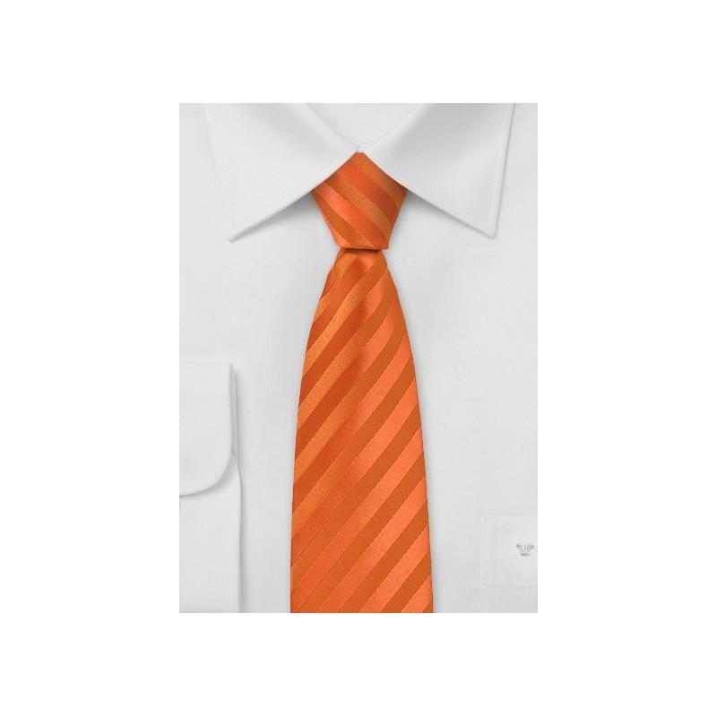 Bright Orange Striped Skinny Tie