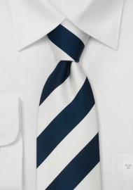 Navy Blue & White Striped Silk Tie for Kids