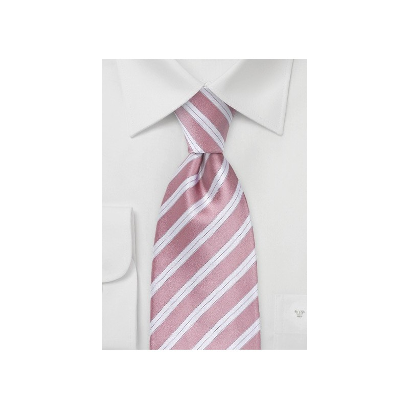 Striped Kids Sized Tie in Rose Petal Pink
