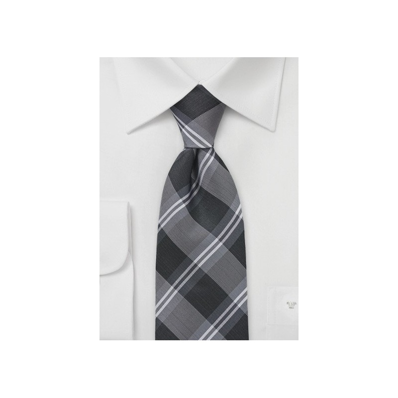 Extra Long Plaid Tie in Tonal Greys