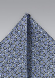 Periwinkle Pocket Square with Yellow Accents