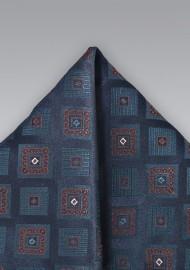 Indigo Blue Textured Pocket Square