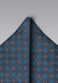 Modern Patterned Indigo Pocket Square