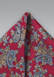 Paisley Pocket Square in Red