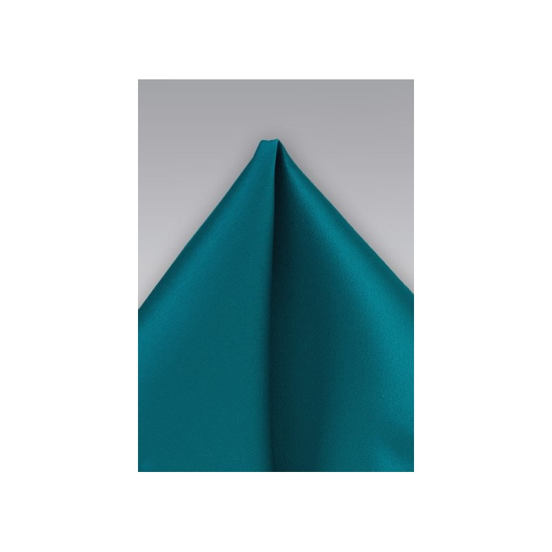 Solid Peacock Blue Pocket Square