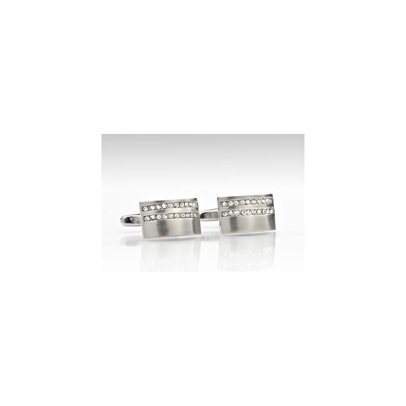 Silver Cufflinks with Faux Diamonds
