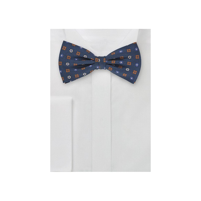 Dapper Navy Blue Bow Tie with Orange Accents
