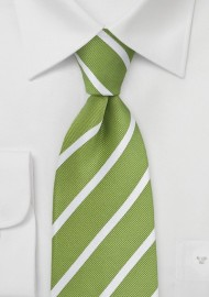 Fresh Grass Green and White Striped Kids Necktie