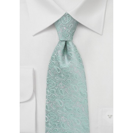 XL Modern Paisley Tie in Mint and Silver