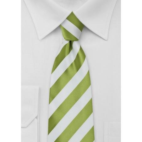 XL  Bright Green and White Striped Tie