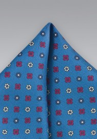 Silk Pocket Square in Vibrant Blue