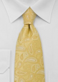 Kids Bright Yellow Paisley TIe