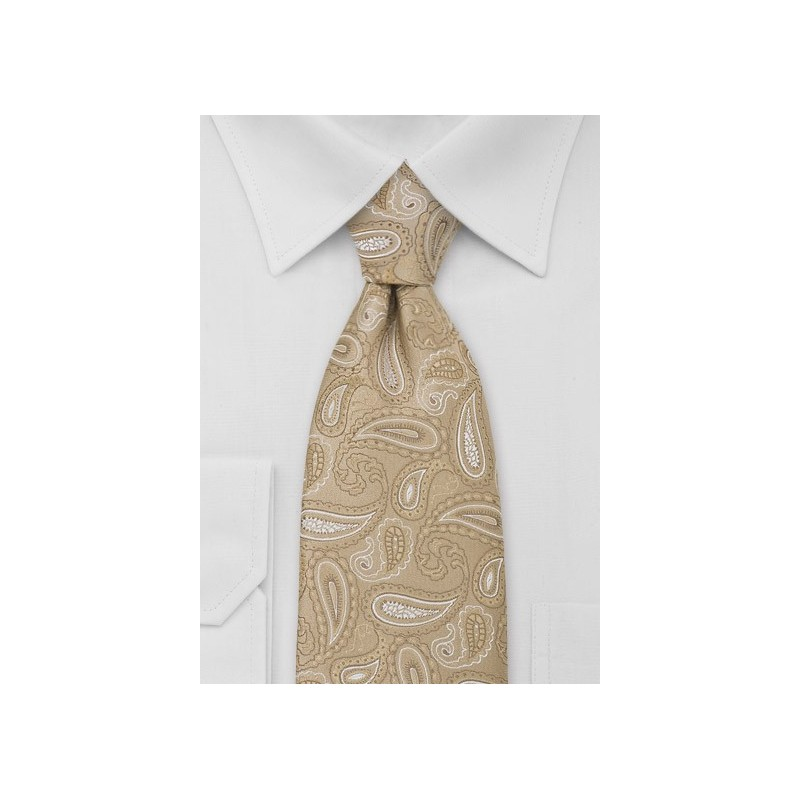 XL Golden Tan Paisley Necktie
