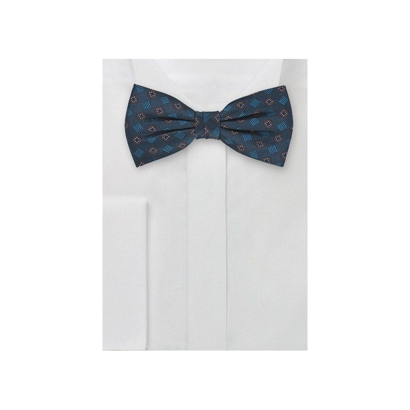 Silk Bow Tie in Dark Aqua-Blue