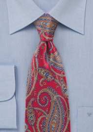 Ornate Paisley in Reds and Blues