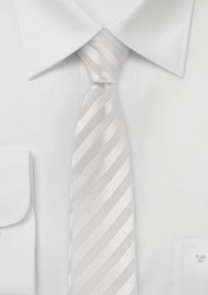 Striped White Skinny Tie