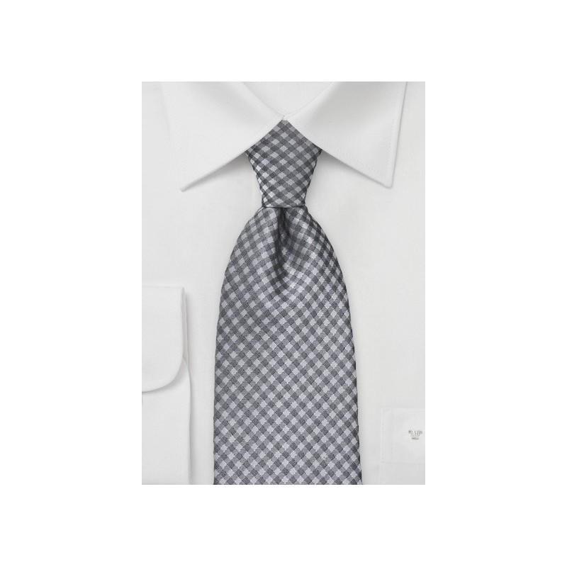 Heather Grey Gingham Tie in Kids Size